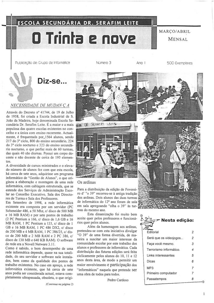 Março/Abril de 2000— O Trinta e Nove, Nº 3